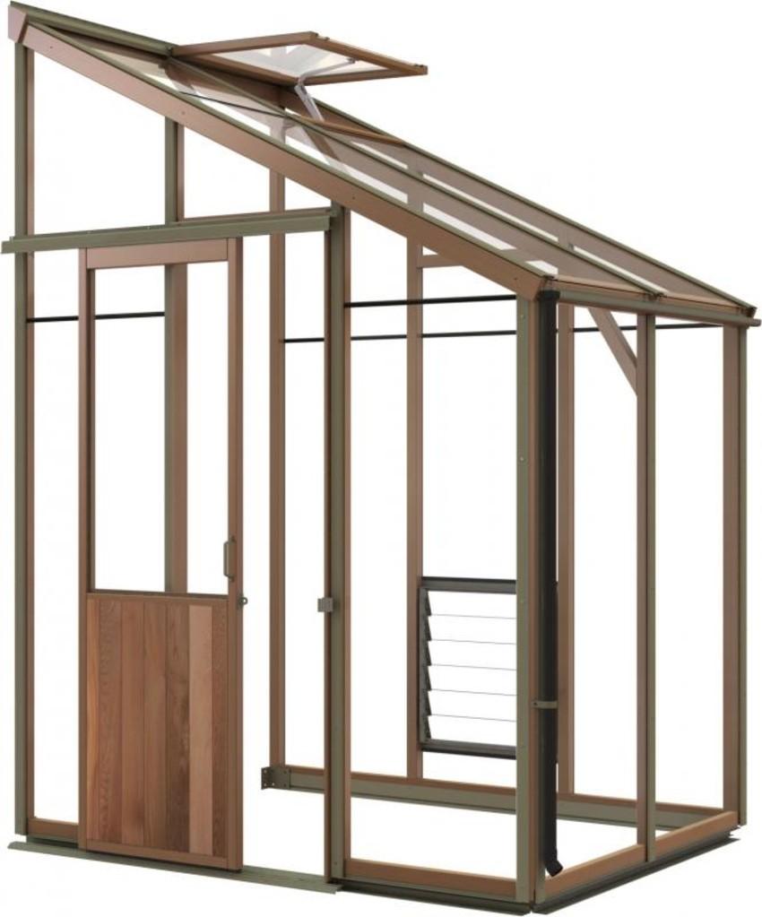 Anlehngewächshaus aus Zedernholz