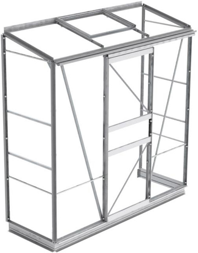 anlehngew chshaus eco plus s2 aluminium mit sicherheitsglas 67cm x 191cm bei gew chshausplaza. Black Bedroom Furniture Sets. Home Design Ideas