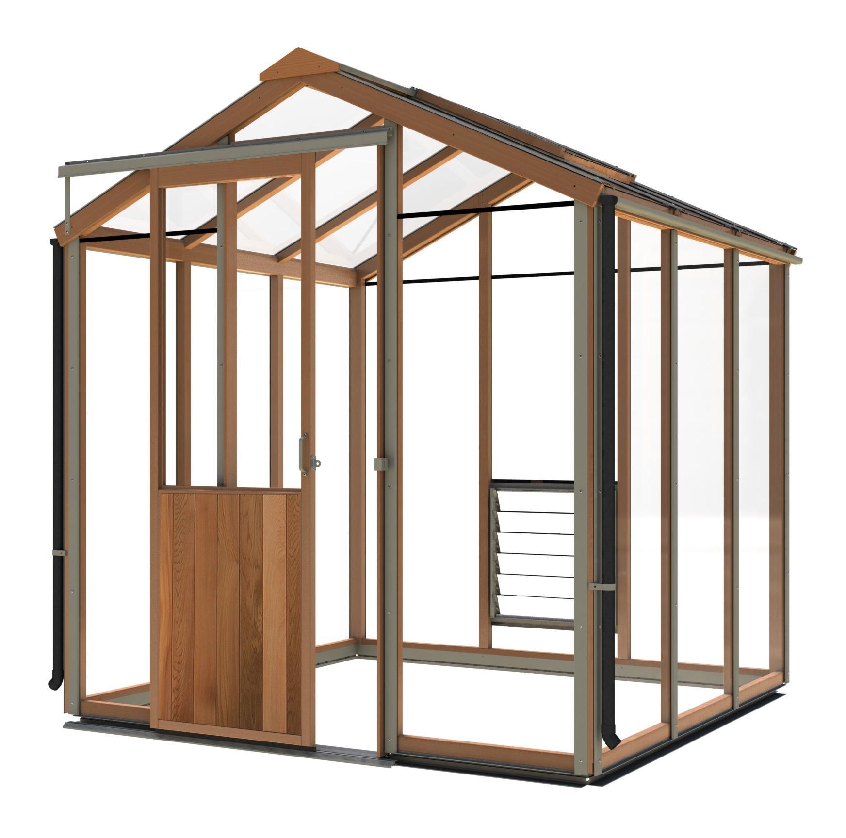 gewächshaus holz evo6 (1987mm x 1987mm) - gewächshaus aus zedernholz