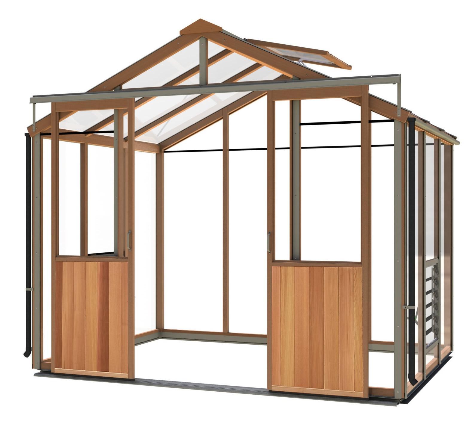 gewächshaus holz evo8 (2617mm x 1976mm) - gewächshaus aus zedernholz