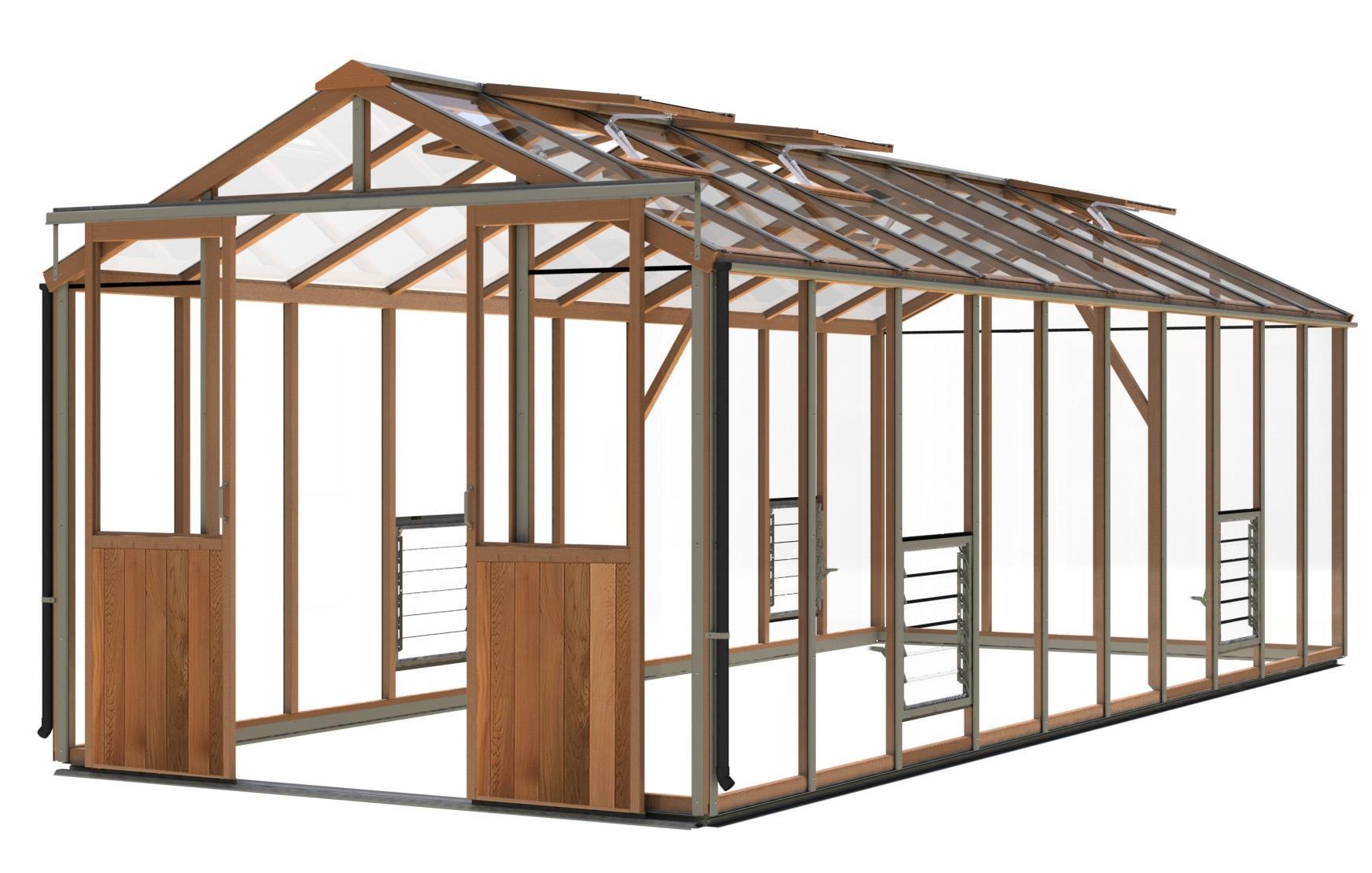 gewächshaus holz evo8 (2617mm x 6386mm) - gewächshaus aus zedernholz
